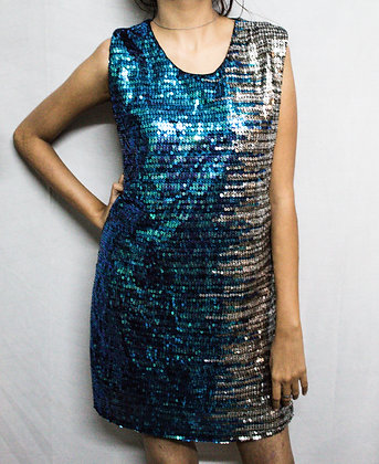 BLUE PULSE SILVER SHIMMER DRESS