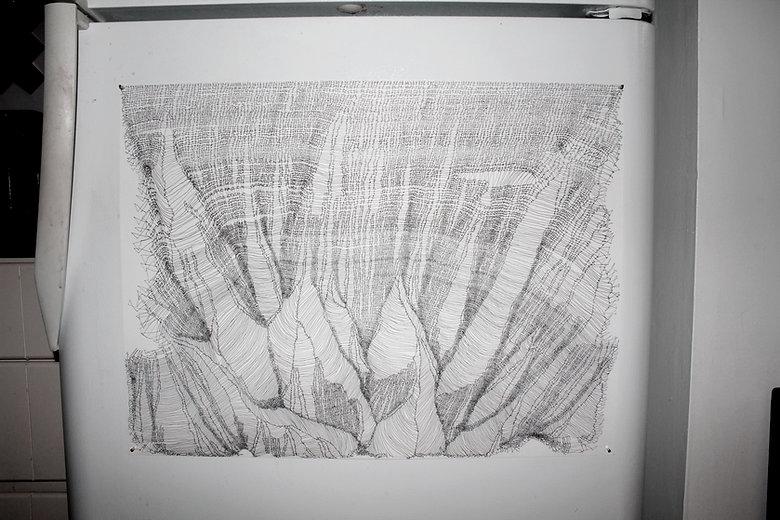materials// a2 cardstock + #pentypea [hi-tec-c ink]
