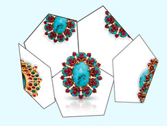 Turquoise brooch mirrored