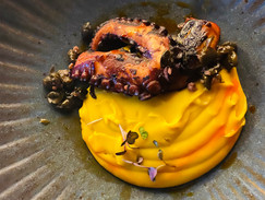 Grilled octopus on pumpkin puree