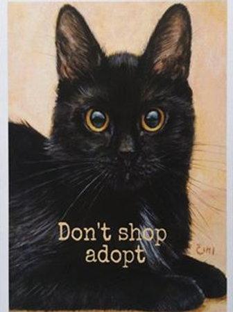 Čimi cat painter ポストカード「Don't shop adopt」