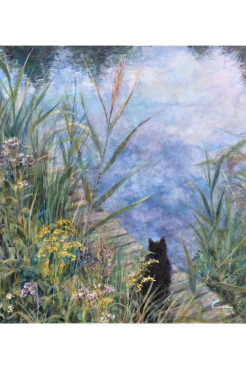 Cimi cat painter ポストカード「くろのシュタインブルン(水辺)」