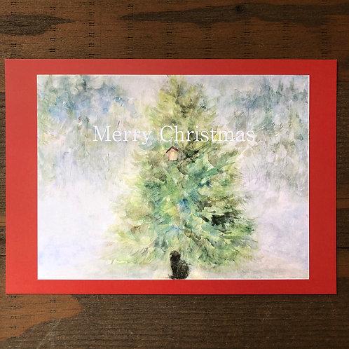 Cimi cat painter ポストカード「クリスマスカード・赤」