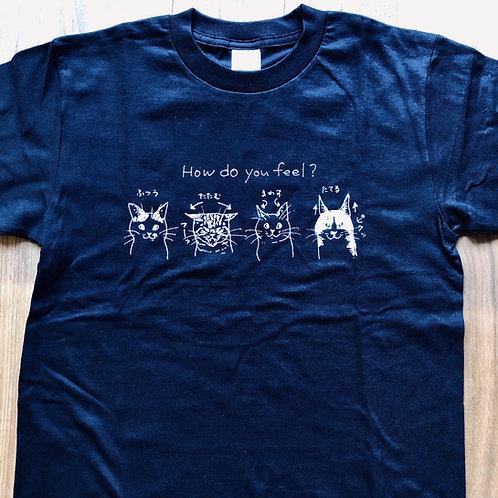 バンナイリョウジ 猫Tシャツ【紺・160(女性S)】
