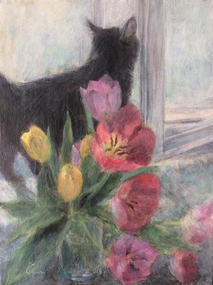 Cimi cat painter ポストカード「春の窓辺(チビ)」