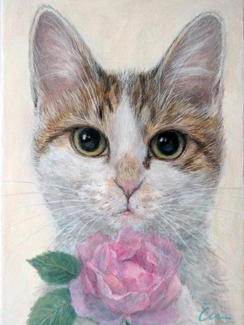Cimi cat painter アクリル画「かこちゃんとバラ」