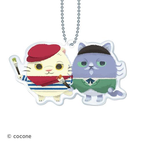 猫のニャッホ アクリルキーチェーン「ピカソ&ゴーギャン」