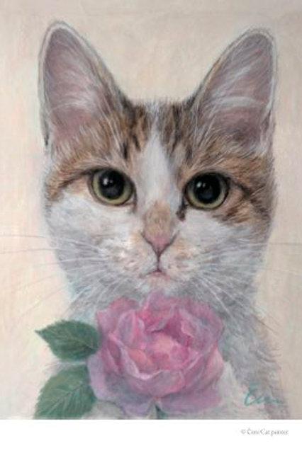 Cimi cat painter ポストカード「かこちゃんとバラ」