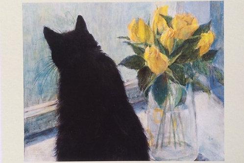 Cimi cat painter ポストカード「窓辺のくろと黄色いバラ」