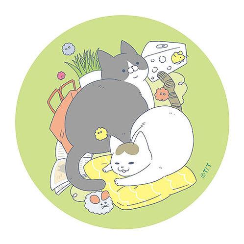 『うちの猫』BIG缶バッジ・グリーン