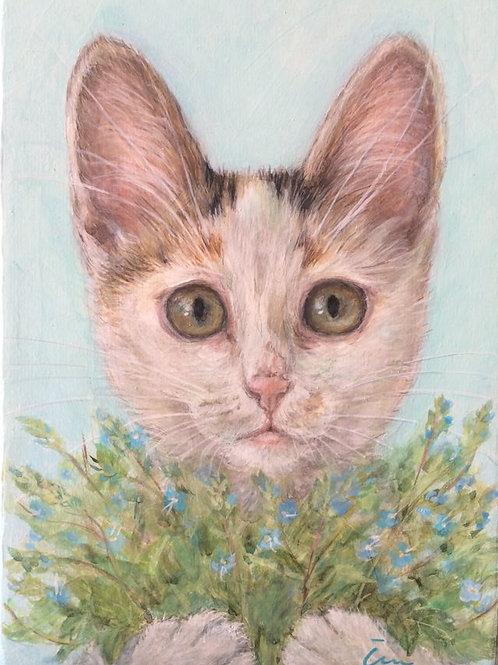 Cimi cat painter アクリル画「Veronica(ベロニカ)」