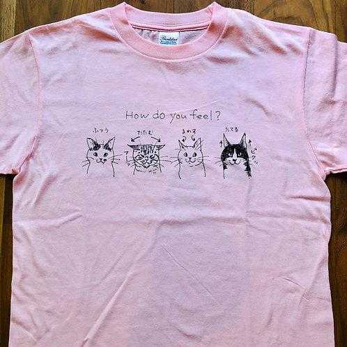 バンナイリョウジ 猫Tシャツ・ピンク