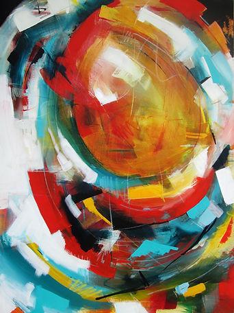 Orbit 60 x 48. Acrylic, pencil and pastel on canvas