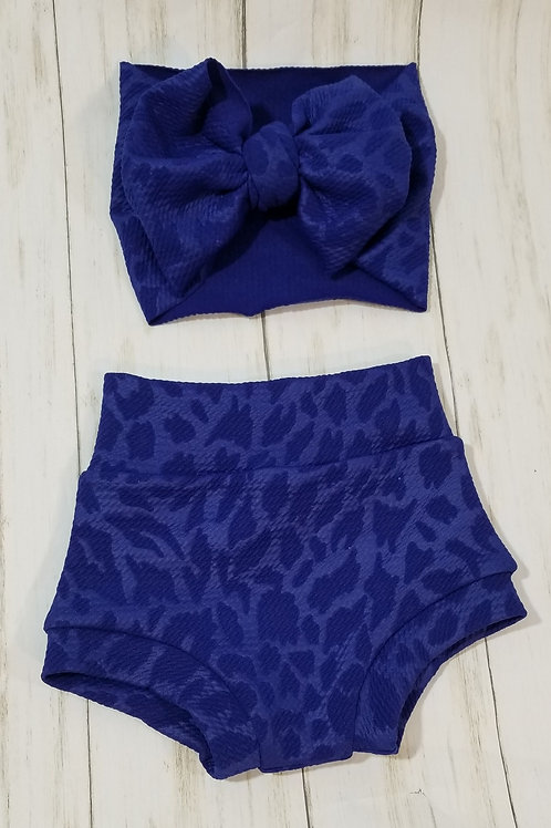 Royal Blue Leopard Bummie Set