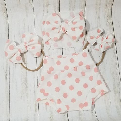 White w/ Pink Polka Dots Bummie Set