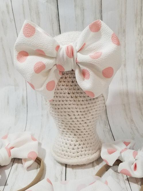 White w/ Pink Polka Dots
