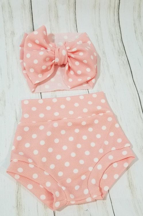 Pink w/ White Polka Dots Bummie Set