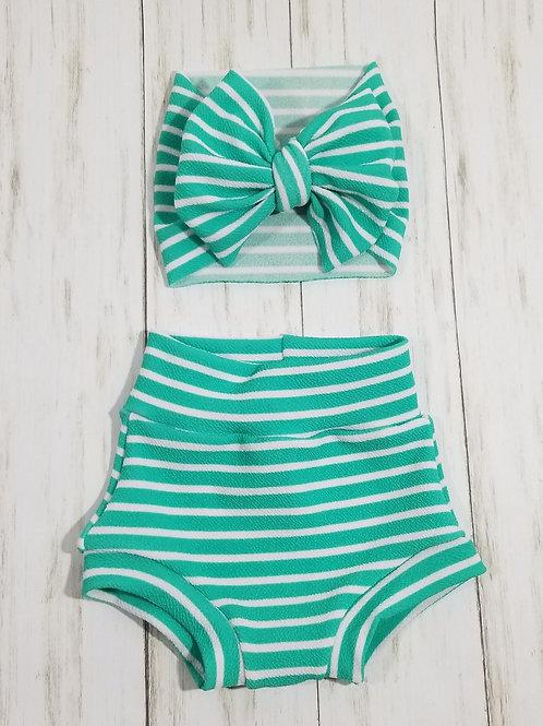 Teal Stripes Bummie Set