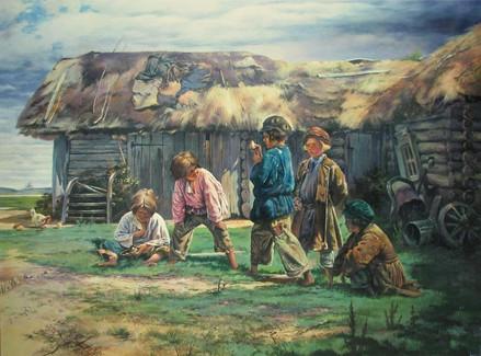 A copy of Makovski's painting  A game of dough