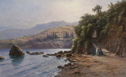 A copy of Lagorio's painting  By the sea. Crimea