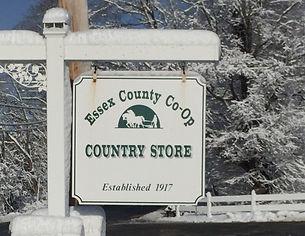 Essex Co-Op sign snowy