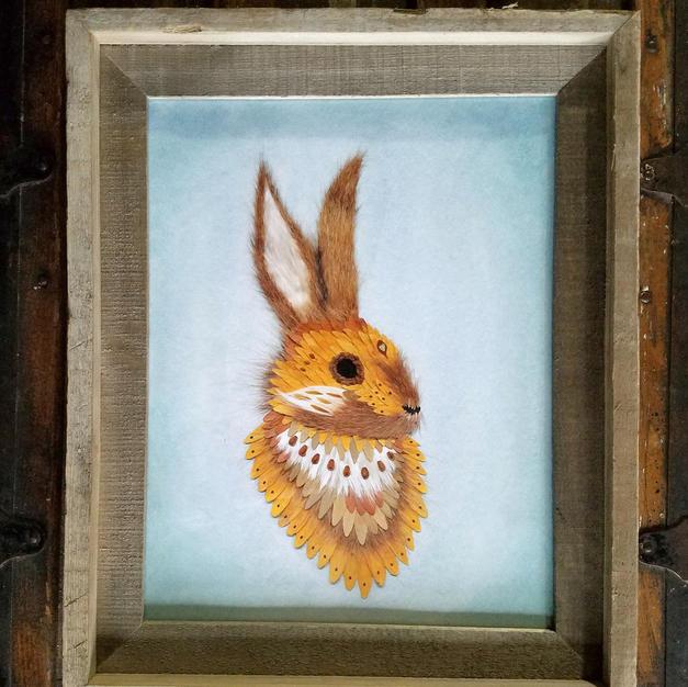 11x14 framed rabbit print