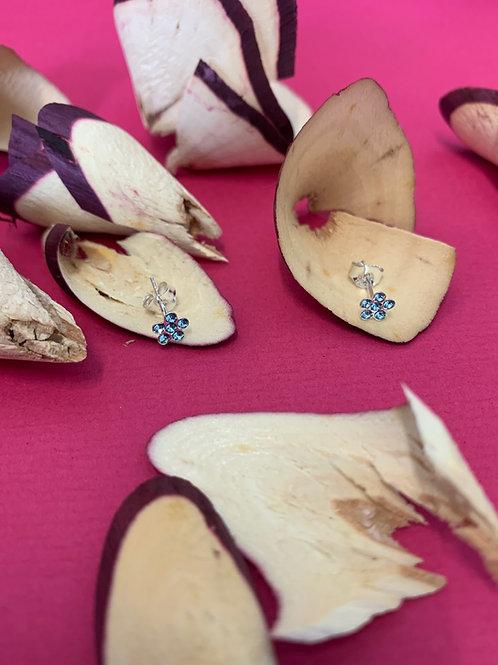 oorbel blauwe bloemetjes zilver