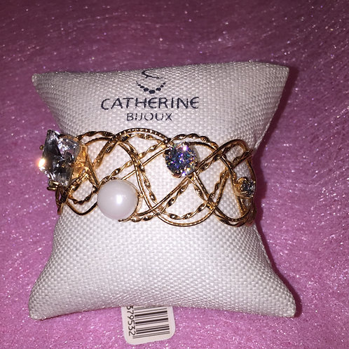 Parel en diamanten armband Catherine