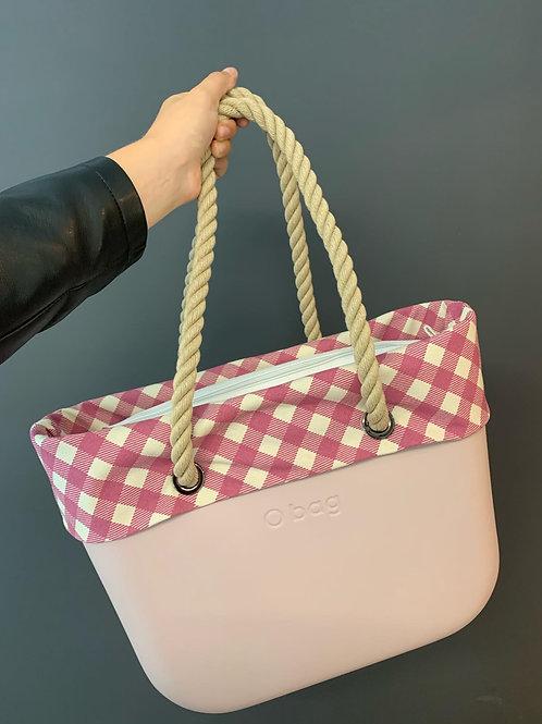 O'bag met omslag en binnentas roze geruit