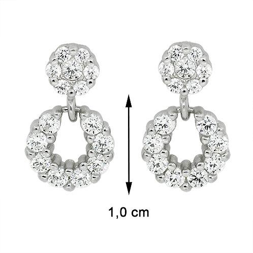 Prachtige ronde oorbellen in zilver bekleed met steentjes