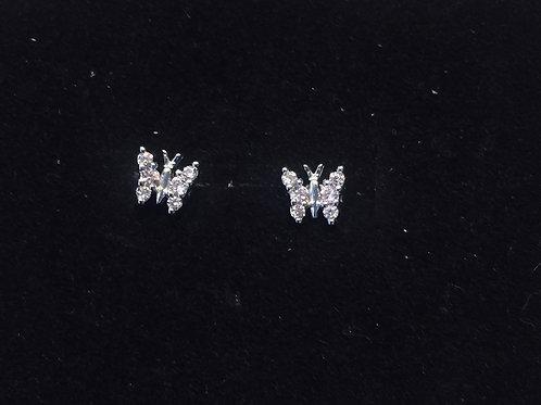 Oorbel vlinder met roze zirkonia steentjes