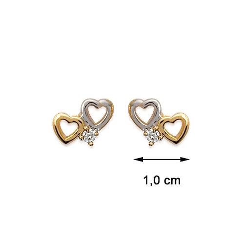 Steekoorbelletjes met zilver enplaqué d'or hartje