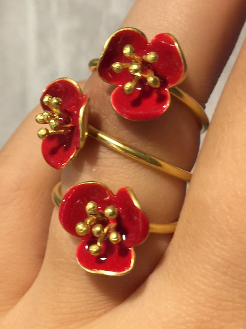 Driedubbele roos ring Georgie Charal