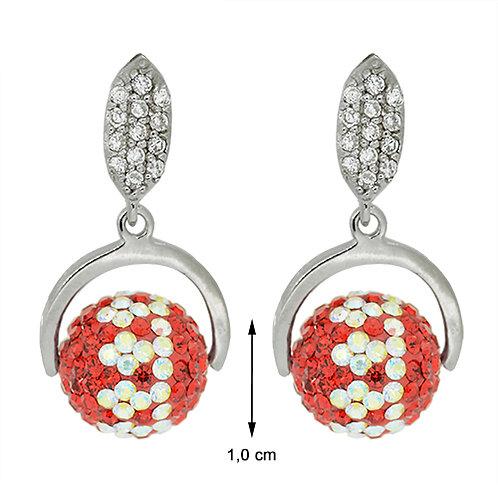 Zilver hangoorbellen met rode bol