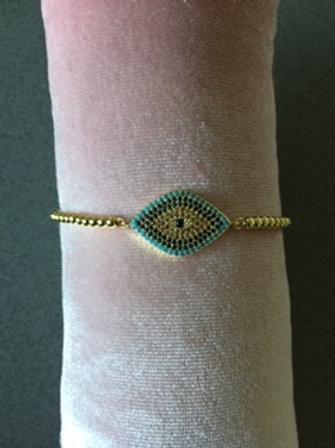 Armbandje goudkleurig - blauw rechthoekig