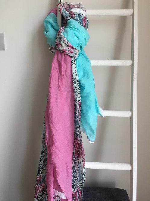 Sjaal Shanna roze met lichtblauw