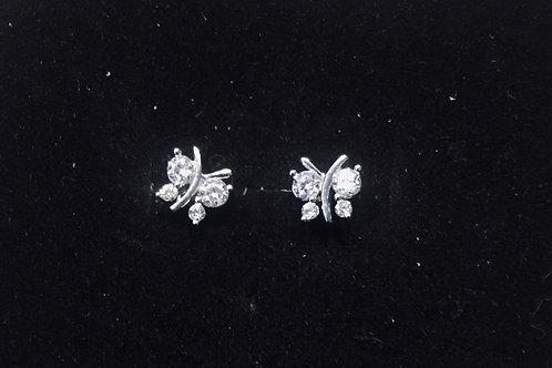 Oorbel vlinder met witte zirkonia steentjes