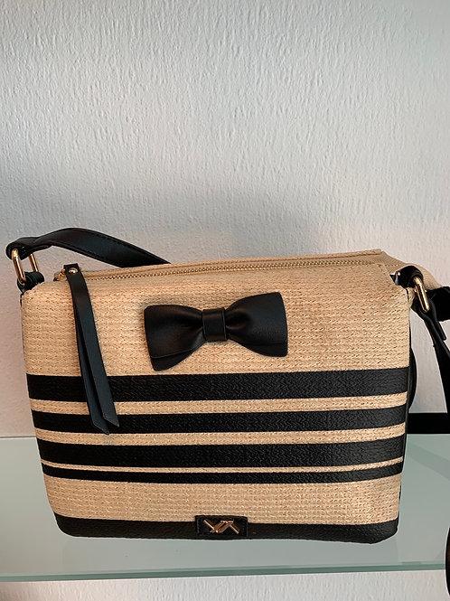 Handtas in bamboe met zwart