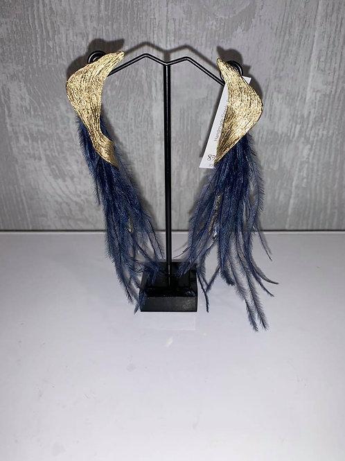 Oorbellen met blauwe pluimpjes