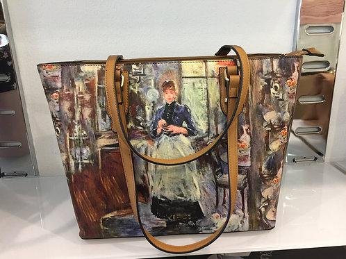 Verde schoudertas met schilderachtige print