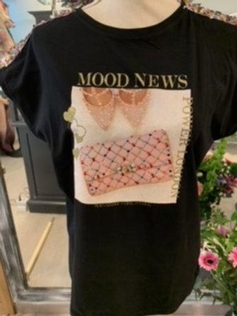 T-shirt Zwart -roze handtas