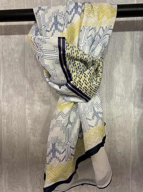 Handgemaakte Shanna sjaal blauw/geel