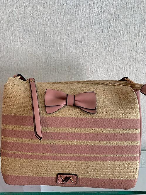 Handtas in bamboe met roze strik