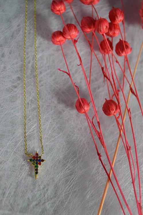 Ketting kruisje met gekleurde steentjes