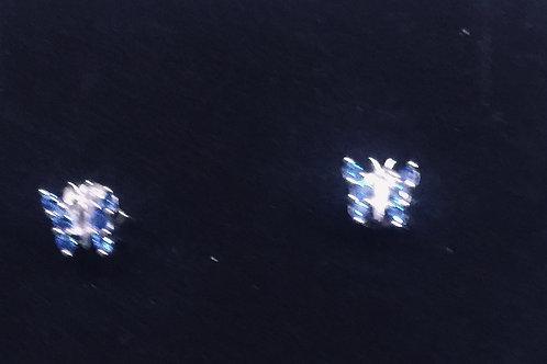 Oorbel blauwe vlinders zirconiasteentjes
