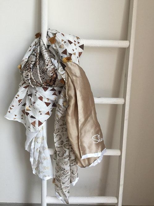 Sjaal Shana goud/beige tijgerprint