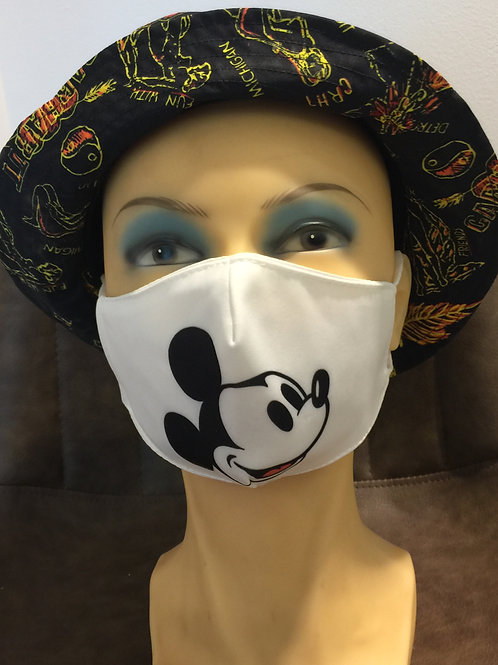 Mondmasker Mickey Print wit