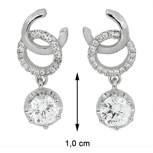 Prachtige oorbellen in zilver bekleed met steentjes