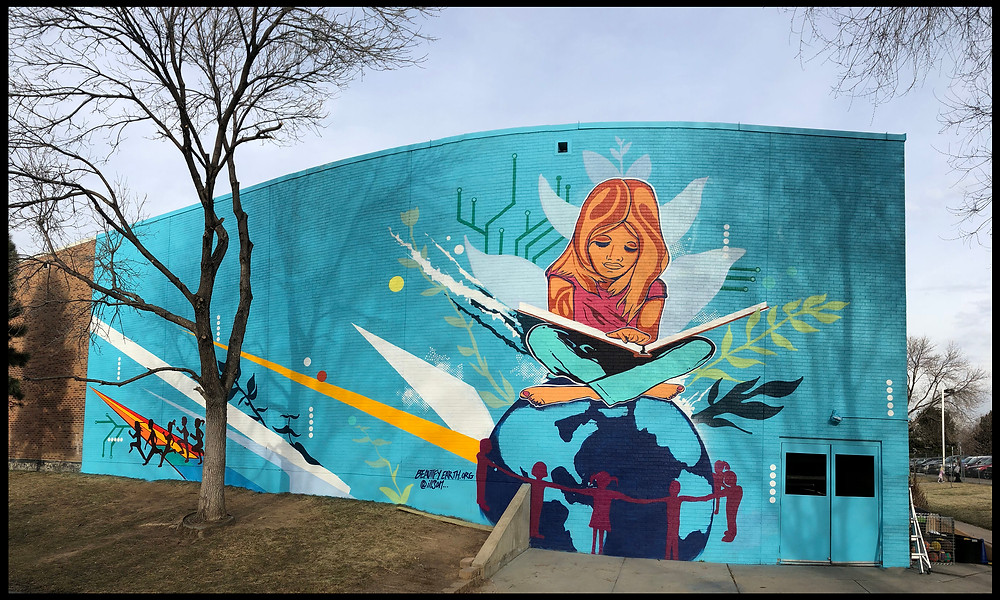 Mural at YMCA in Denver by Michael Ortiz, sponsored by EcoMedia