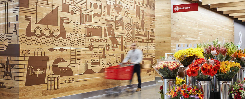 Mural inside Target distribution center in Joliet, Illinois